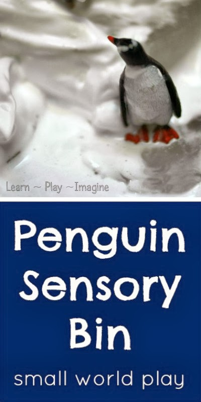 Penguin sensory bin and small world play with icebergs and fake snow