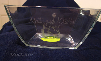 Wedding Invite Design Transferred to Etched Glass Bowl | Tried & Twisted