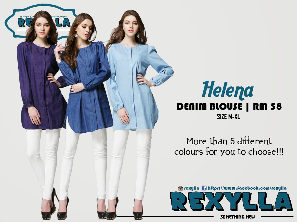 rexylla, blouse, denim, button blouse, helena collection