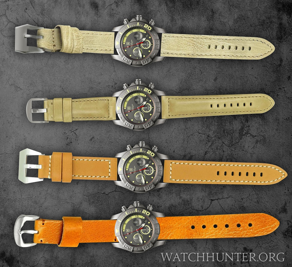 Comparison of Victorinox Swiss Army Limited Edition Titanium Dive Master 500 on a variety of leather watch bands