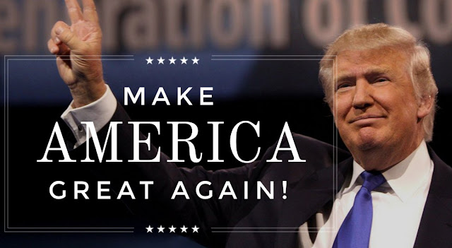 Presidential candidate Donald Trump with his campaign slogan