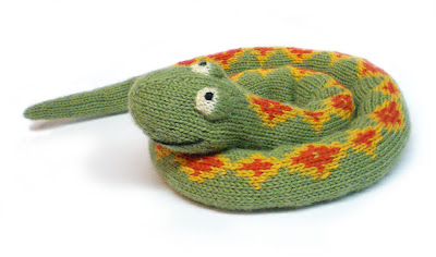 a knitted plush snake called Sophie