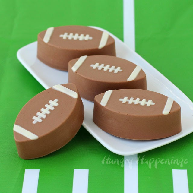 Reese's Peanut Butter Chocolate Fudge Footballs from HungryHappenings.com