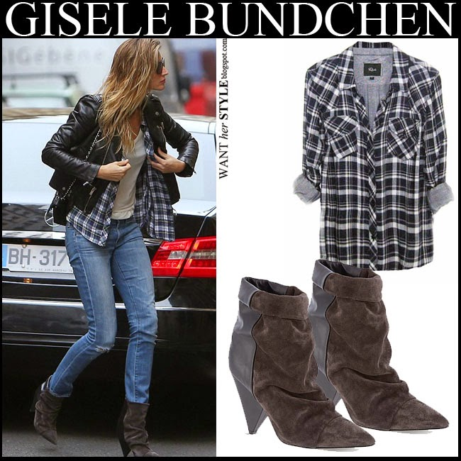 Gisele Bundchen in grey plaid Rails Kendra shirt with brown suede ankle boots Isabel Marant Andrew want her style model fashion inspiration october 2014