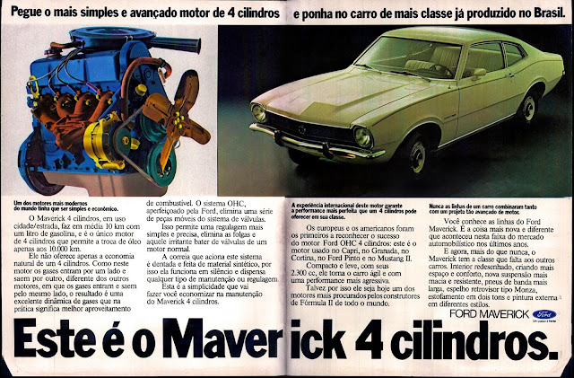 propaganda Ford Maverick - 1975.  brazilian advertising cars in the 70. os anos 70. história da década de 70; Brazil in the 70s; propaganda carros anos 70; Oswaldo Hernandez;