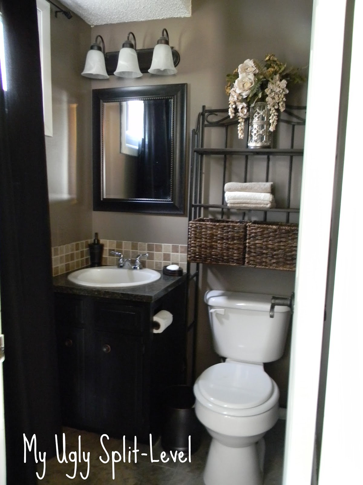 My ugly split level the back bathroom for Toilet decor ideas