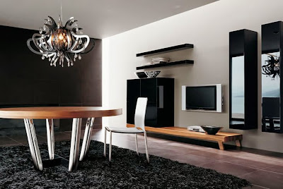Modern Living Room TV Wall Unit 3 in Black Colour with Art Decoration