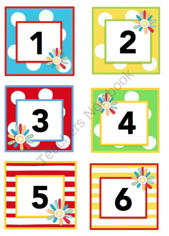Calendar Numbers Printables Preschool : Colorful yearly calendar preschool printables
