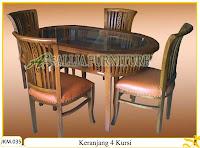 Kursi dan Meja Makan Kayu Jati Ukiran Keranjang 4 Kursi