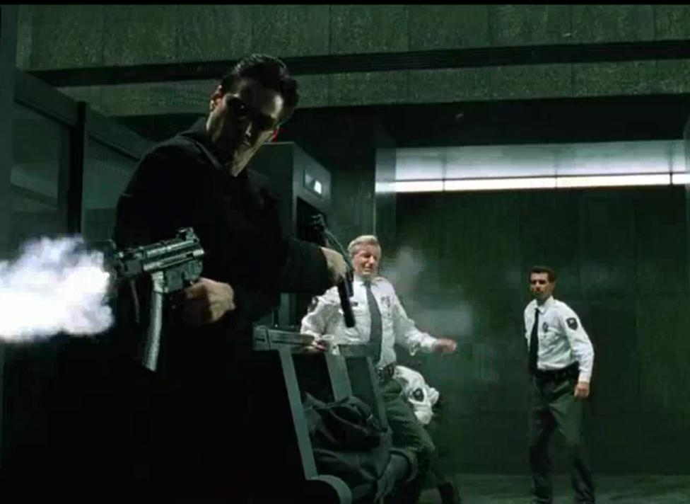 a review of the movie matrix Neo (keanu reeves) believes that morpheus (laurence fishburne), an elusive figure considered to be the most dangerous man alive, can answer his question -- what is the matrix neo is contacted by .