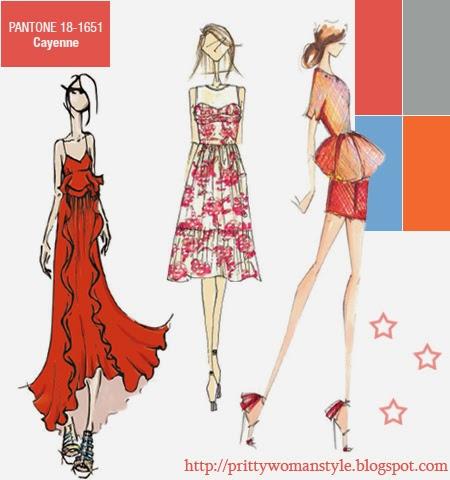 Червено кайен моден цвят за пролет лято 2014