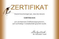 Gartenhaus Zertifikat