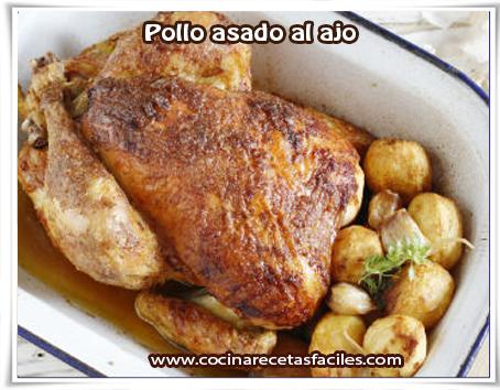 Recetas de pollo , pollo asado al ajo