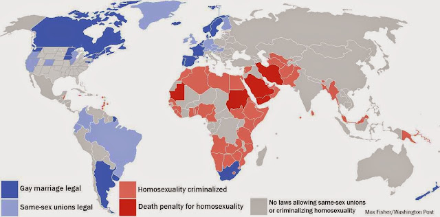 Map showing where being homosexual is illegal