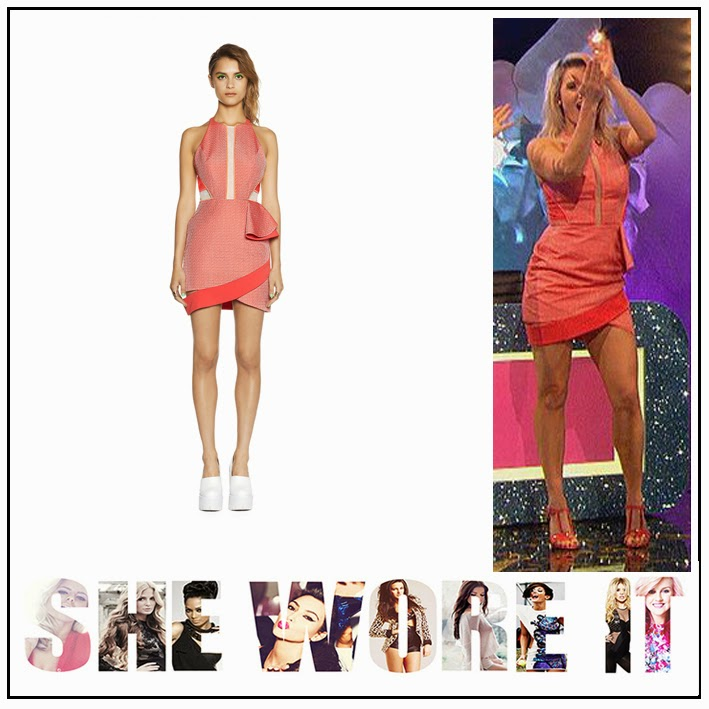 Ashley Roberts, ASOS, Celebrity Fashion, Celebrity Juice, Coral, Detail, Dress, ITV, Mesh Insert, Peplum, Sure Fire, Sweeping Hem, Three Floor Fashion,