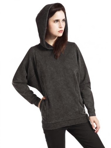 Loose Leisure Bat Sleeve Dark Gray Hoodie