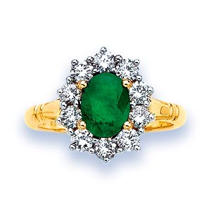 wedding ring emerald and ring