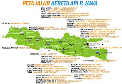 Peta jalur kereta api di pulau jawa