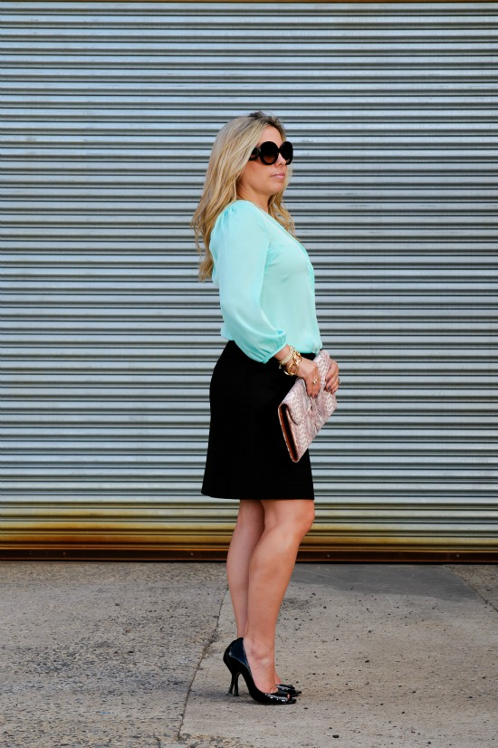 The Loft Textural Sweater Skirt, H&M Mint Green Blouse, Nine West Flute Black Pumps, Prada Baroque Round Sunglasses, Michael Kors Oversized Madison Chronograph Watch, Forever 21 Rhinestoned Crescent Bib Necklace
