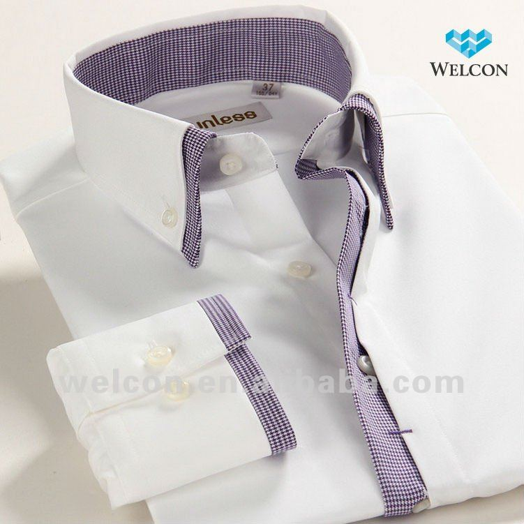 Cotton long sleeve white italian collar style latest for Italian dress shirts brands