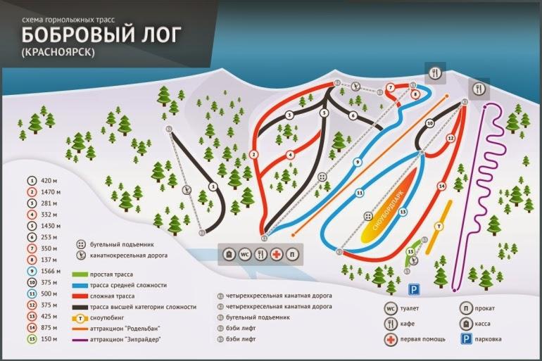схема горнолыжных трасс Бобровый Лог Сибирь