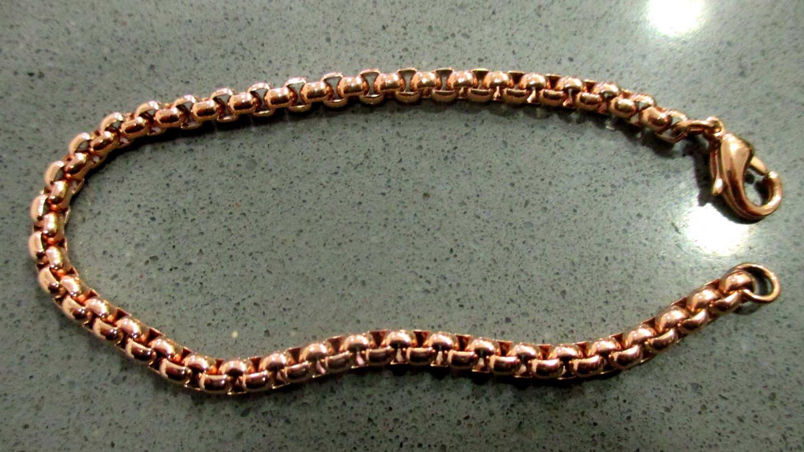 Pulsera de acero chapada en oro rosa