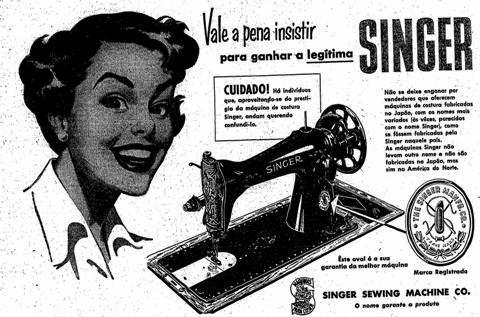 Propaganda da Máquina de Costura Singer em 1952.