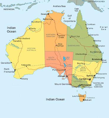 Carte de Australie Departement Région