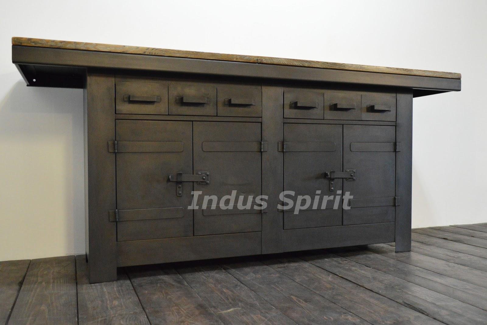 Tabli industriel m tal et bois - Bureau industriel metal et bois ...
