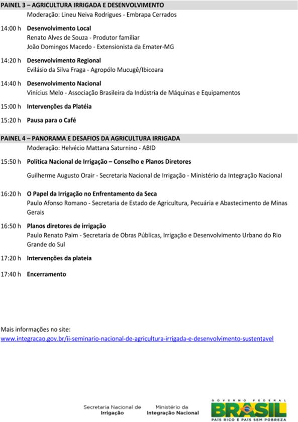 Programação: II Seminário Nacional de Agricultura Irrigada e Desenvolvimento Sustentável
