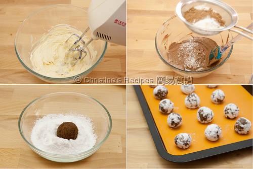 朱古力裂紋曲奇餅製作圖 Chocolate Crackle Cookies Procedures