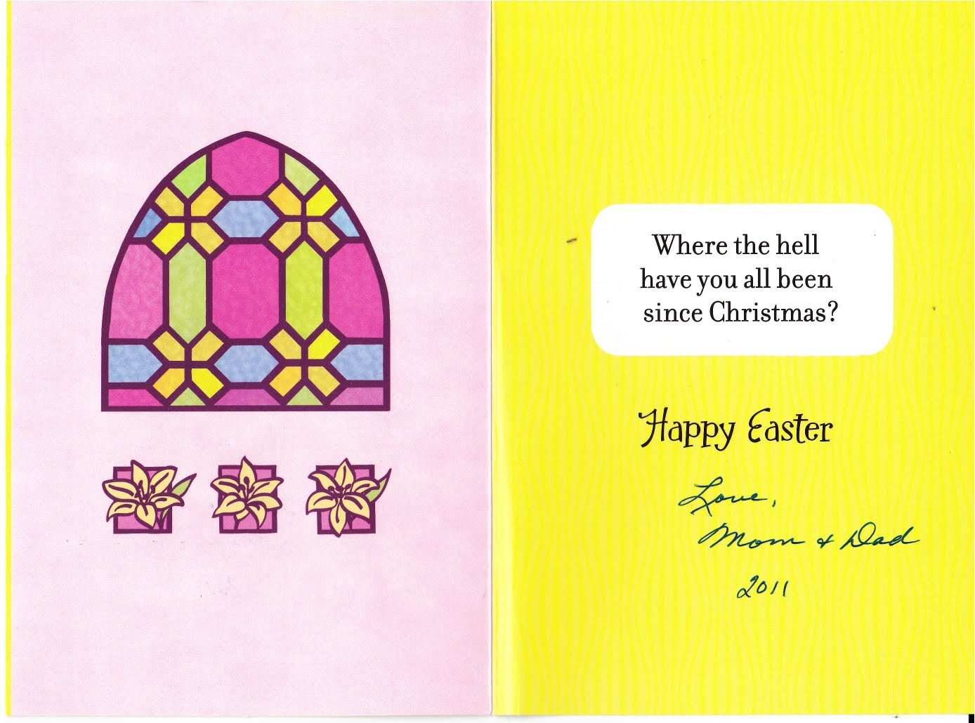 My Life Scanned Easter Card from Mom and Dad 2011