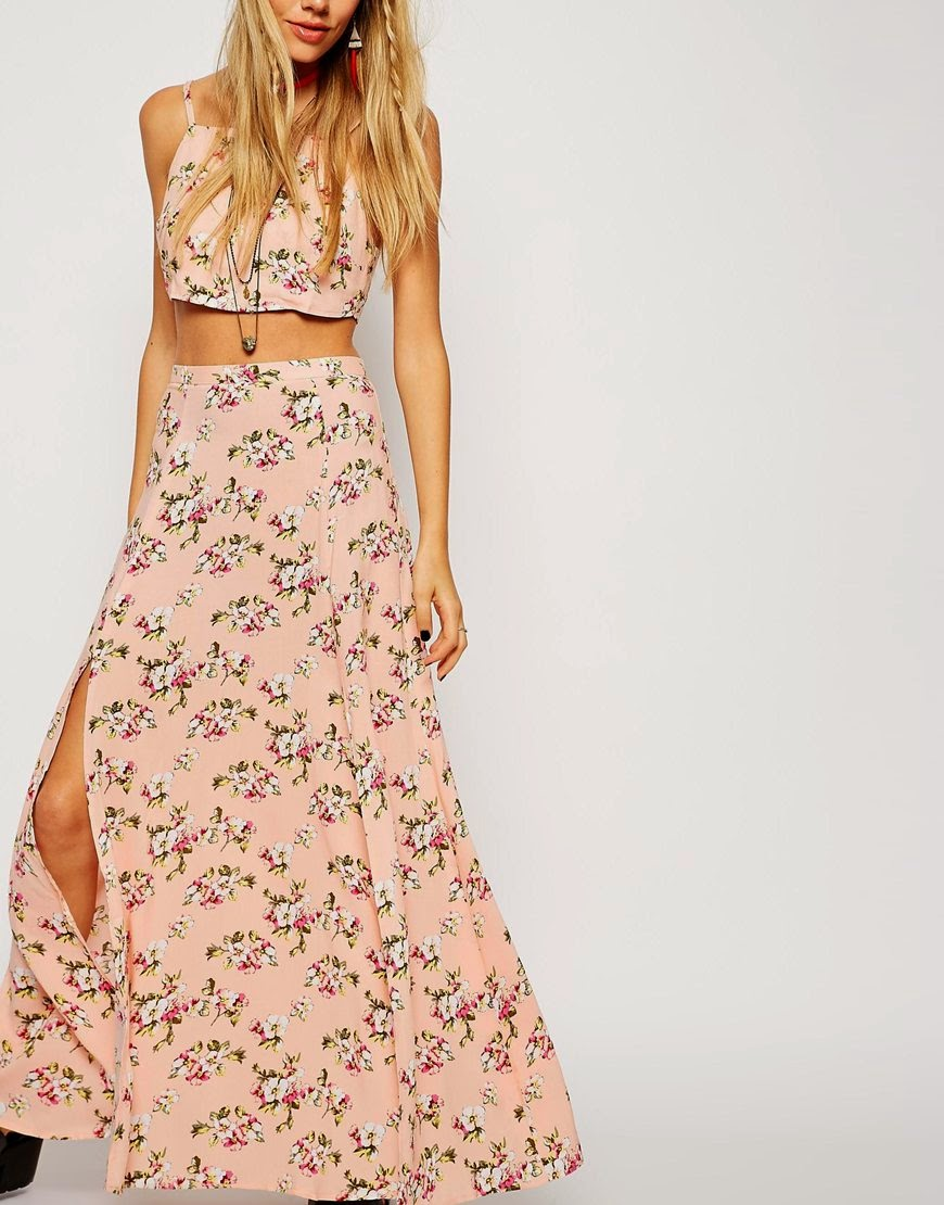 peach flower maxi skirt