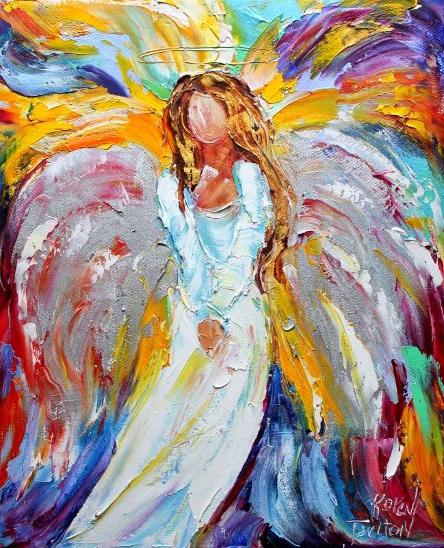 Karen Tarlton: Original oil paintings Angels from Above by Karen ... Oil Paintings Of Angels