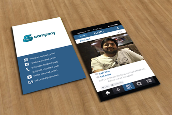 Convert instagram profile into business card psd for How to do a business card
