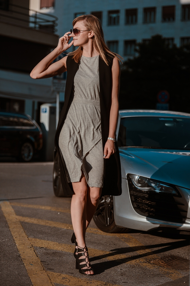 grey wrap dress, black longline vest, lace up heels, belt silver bracelet golden eight, blogger