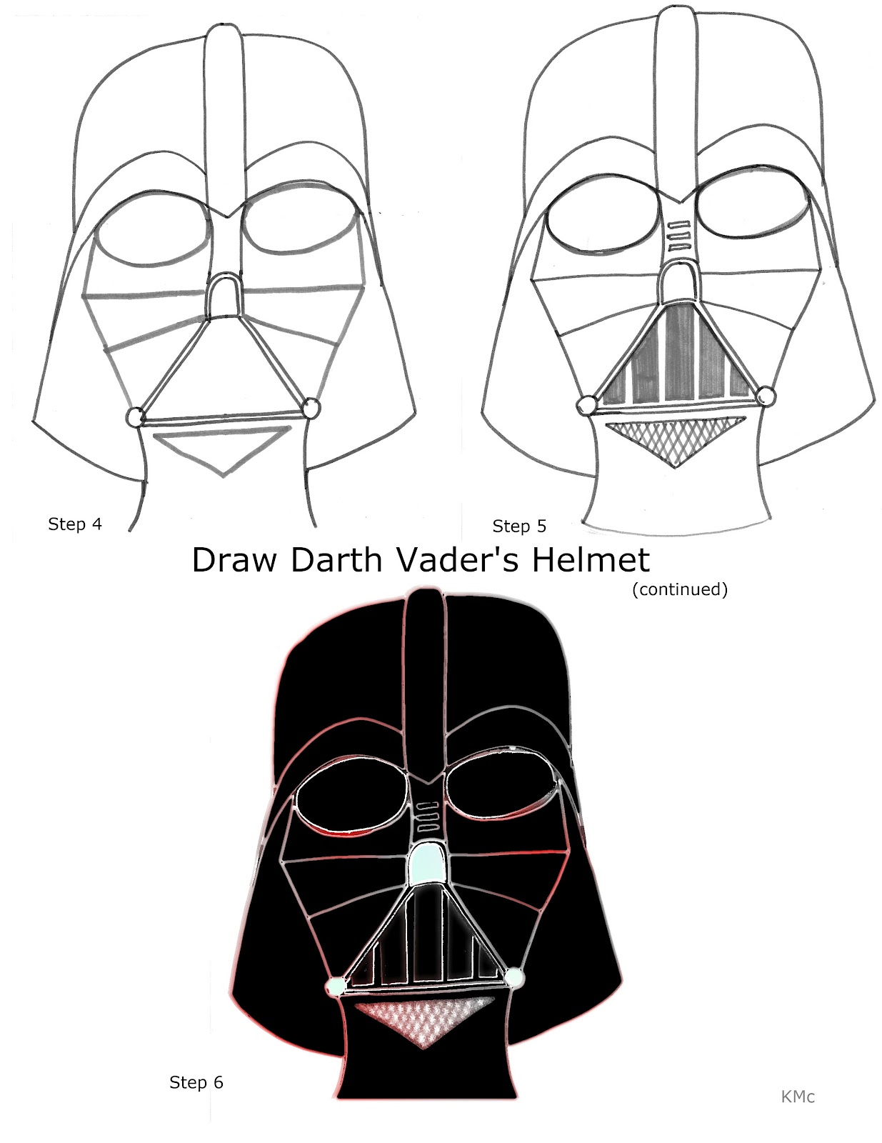 How To Draw With Kirk Mcconnell How To Draw Darth Vaders Helmet