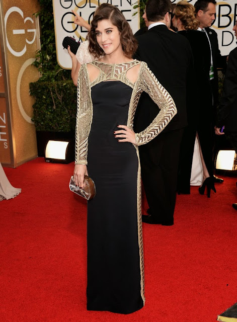 Lizzy Caplan in Emilio Pucci at the Golden Globes