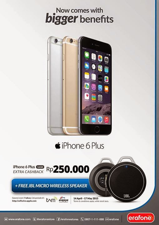 iPhone 6 Plus cashback Rp 250.000 + Free JBL Micro Wireless Speaker