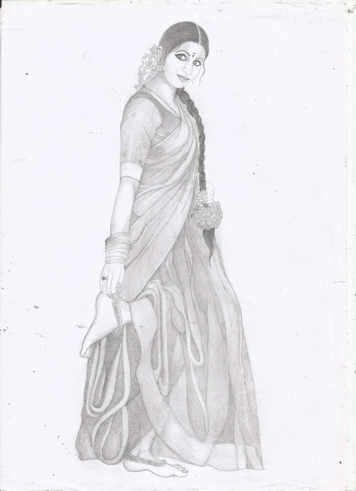 Jackhi pencil drawing indian women pencil sketch