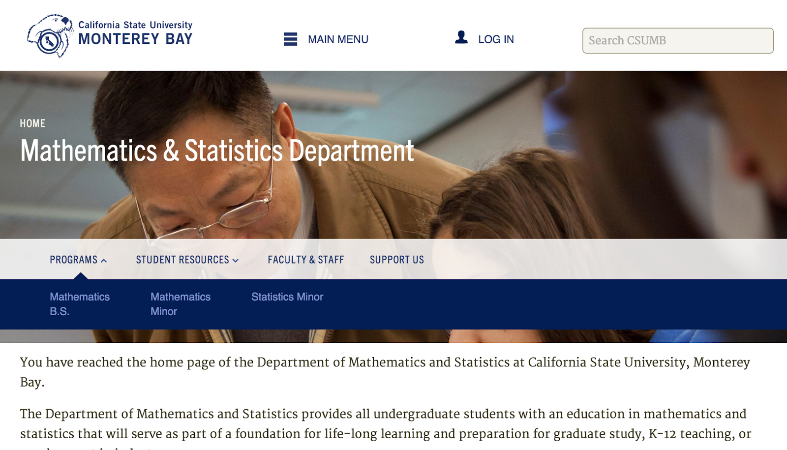 screenshot of a department page