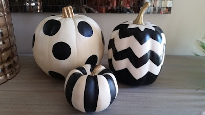black and white chevron, striped and dotted pumpkins