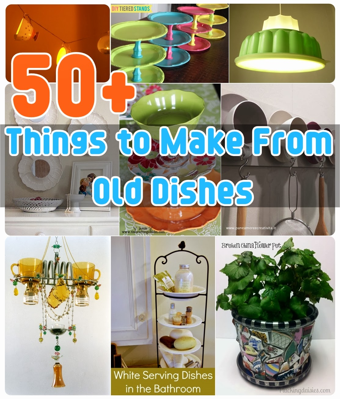50 things to make from old dishes diy craft projects for Craft ideas for old dishes
