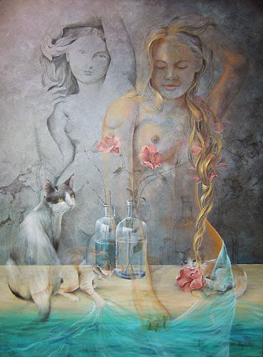 pintura de mulher tomando banho