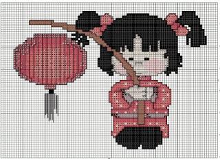 Gráfico para bordado de menina japonesa