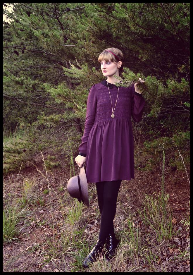aubergine smock dress