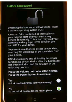 HTC One X Unlock Bootloader Screen