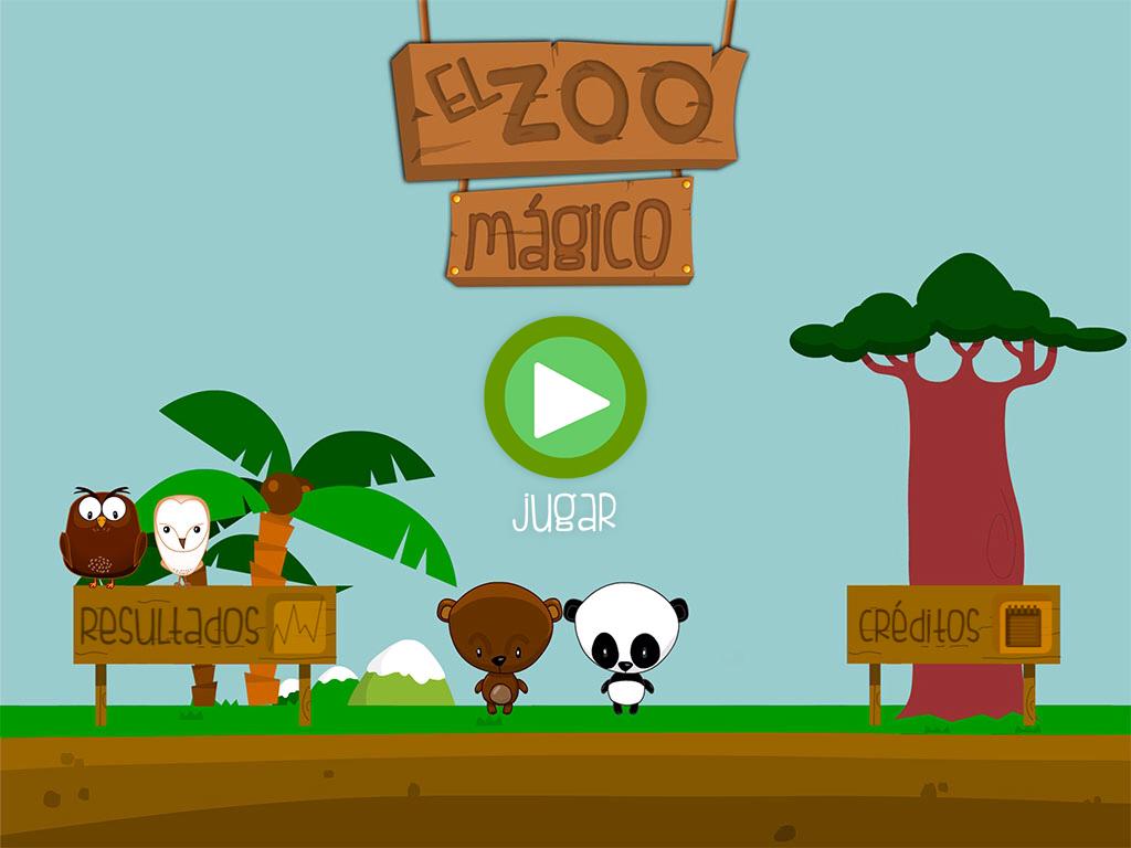 La imagen muestra un menú entre palmeras y animales