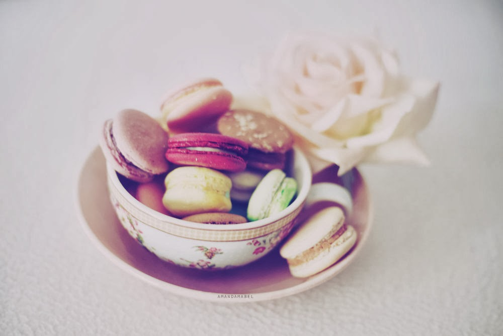 Macarons in a teacup