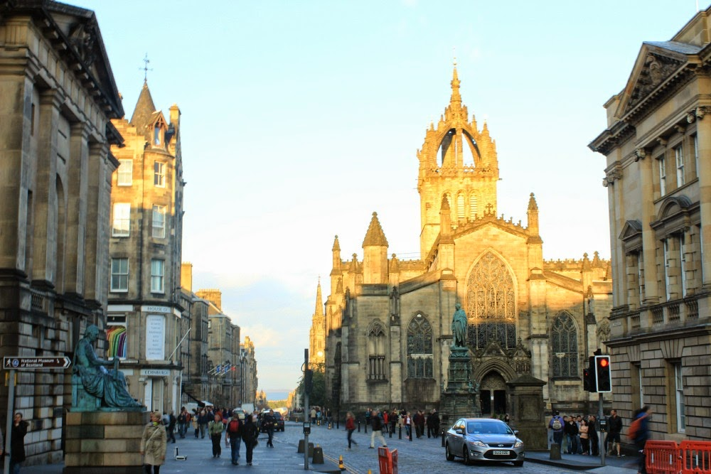 edinburgh looking down the royal mile at st. gile's cathedral
